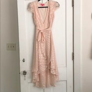 Pink Polka Dot Wrap Dress